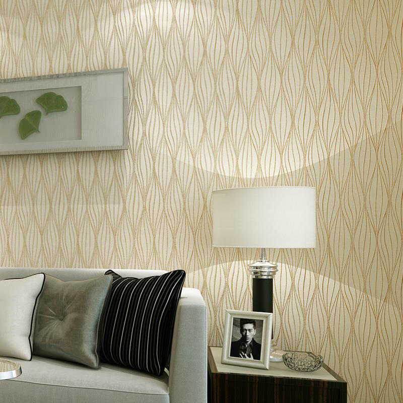 Minimalist Wallpaper 3D Living Room Abstract Geometric Curve Embossed Wall-Papers For Walls Hot Stripes Wall Papers Beige Black