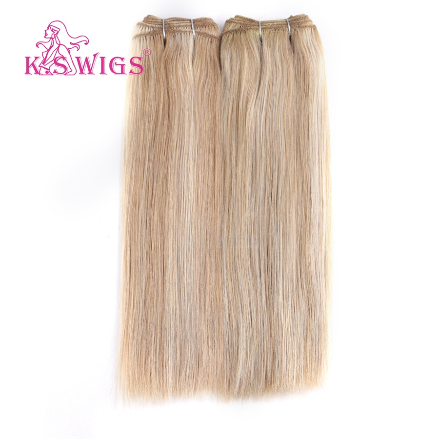 K.S WIGS Straight Remy Human Hair Weft Double Drawn Hair Weave Bundles 110g 12'' Piano Color