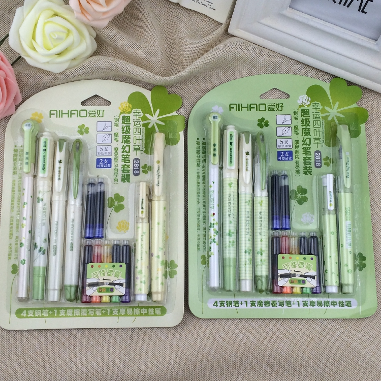 1Set An ink pen pen bag 2818 hobby erasable pen magic pen carbon crystal blue color ink sac easy schneider 6pcs supplementary ink pen ink sac ink ink gall bladder boxed portable recycle