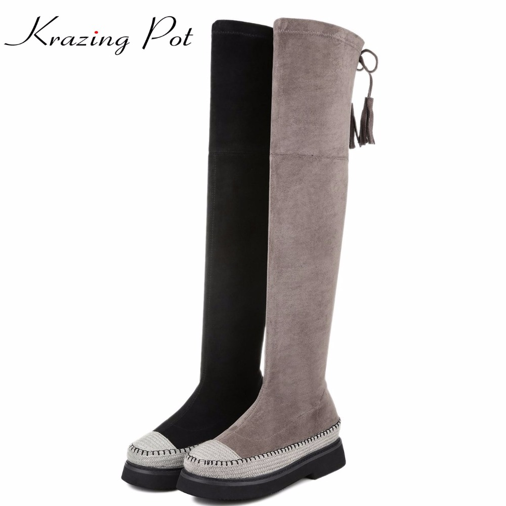 Krazing pot flannel round toe solid low heels fashion bowtie stretch lace up boots for winter leisure over-the-knee boots L17 krazing pot flannel stretch boots winter keep warm wedges high heels leisure long legs beauty fashion over the knee boots l31