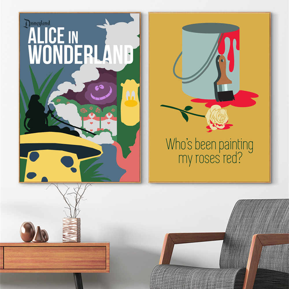 Alice in Wonderland Minimalist Posters And Prints Wall Art Canvas Painting For Living Room Decoration Home Decor Unframed Quadro