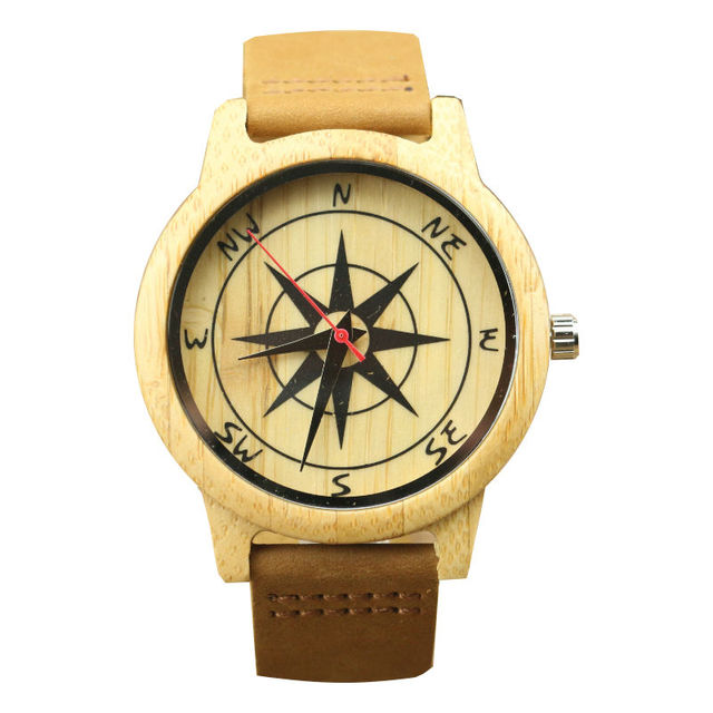 new arrived men outdoorsports handmade bamboo compass dial leather quartz watch