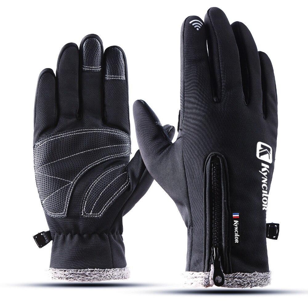 Kyncilor senderismo ciclismo guantes de absorción de choque Pad resistente al desgaste Anti-slip Windstopper impermeable MTB guante guantes de la bicicleta