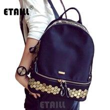 2016 Новинка элегантный дизайн маленький Водонепроницаемый нейлоновый рюкзак модные брендовые женские заклепки рюкзаки школьные дорожная сумка SAC DOS Femme