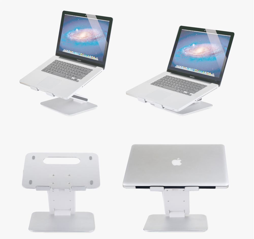 aluminum notebook laptop stand and desk riser with adjustable height for 13-15 inch laptops