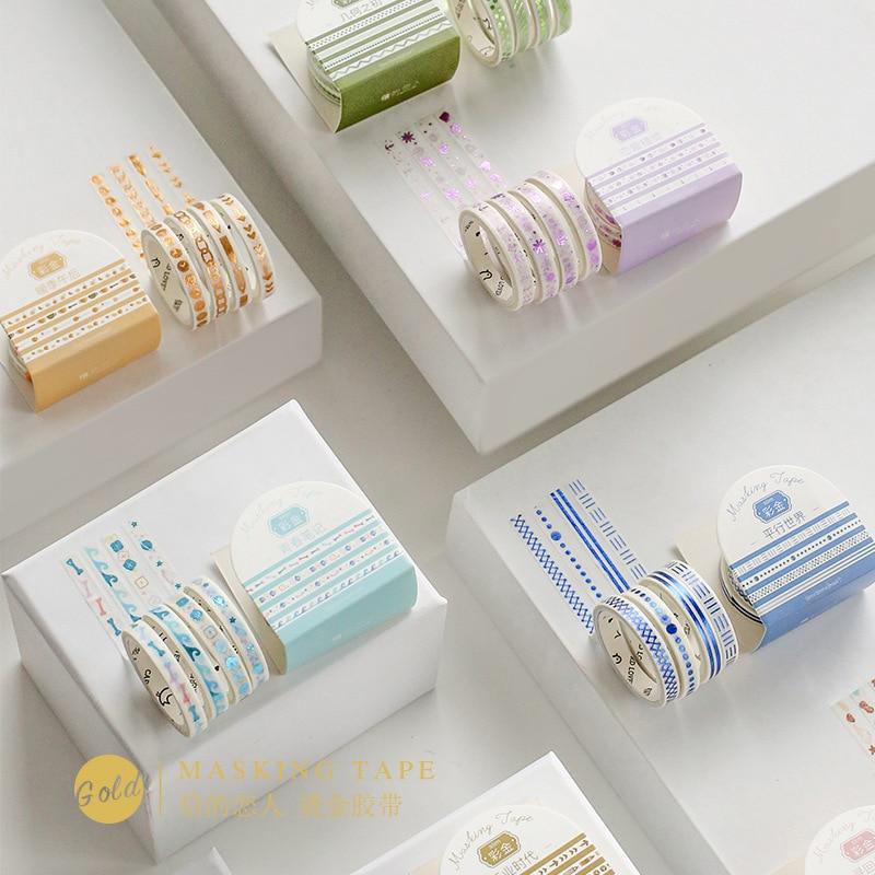 4pcs/pack Color Geometric Gilding Washi Tape Adhesive Tape Diy Scrapbooking Sticker Label Masking Tape Student Stationery Gift