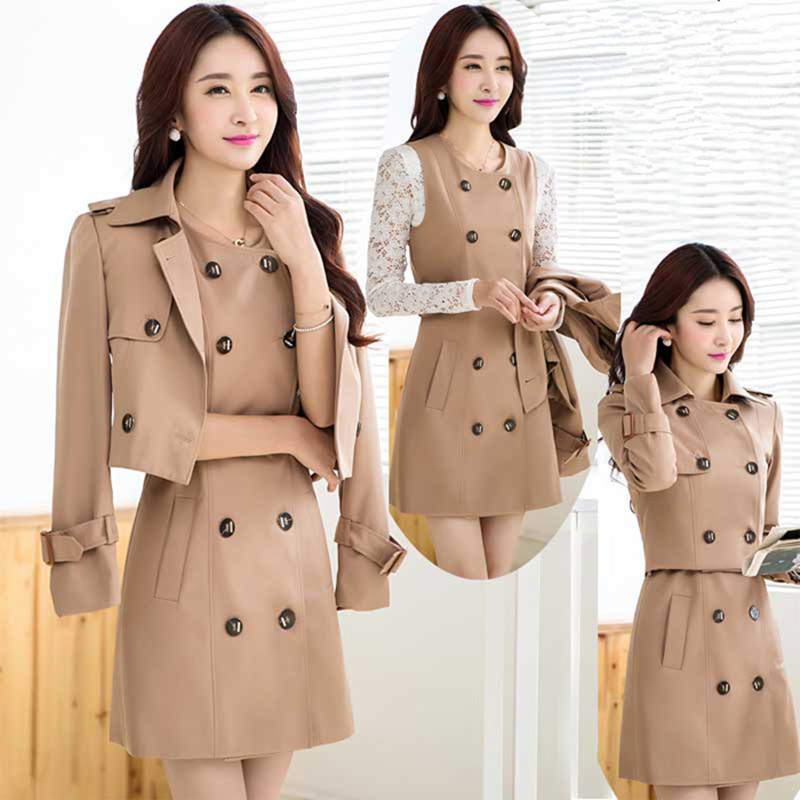 Plus Size S-6XL Trench Coat For Women,Casaco Feminino,Maxi Coats Long Outwear Two Pieces Casual Trench Coat And Tops C2264
