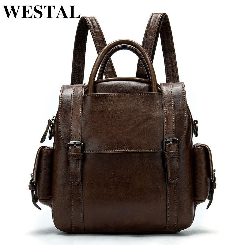 WESTAL mâle petit sac à dos en cuir sac pour hommes sac d'école sac à dos de voyage ipad sac d'affaires pour étudiant sac à bandoulière 9546