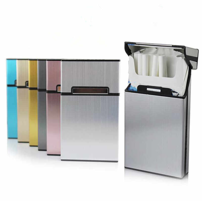 Aluminum Alloy Madam Thin Cigarette Case Tobacco Holder Pocket Box for Women Cigarettes Storage Container Smoking Accessories