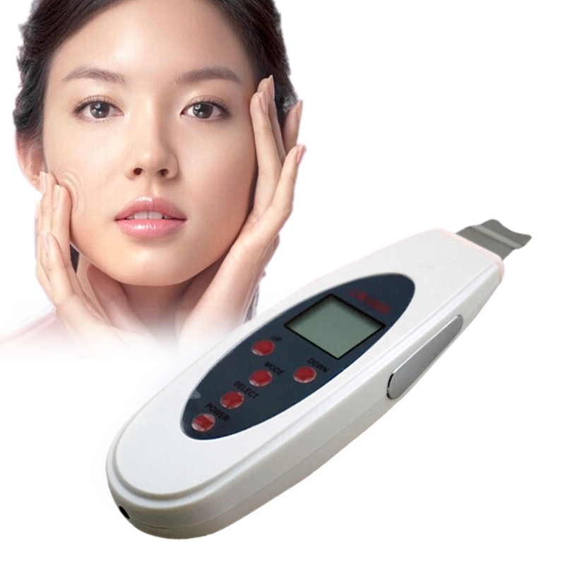 LCD Deeply ultrasonic face skin cleaner device Acne blackhead removal Device shovel machine Facial face exfoliator deeply clean