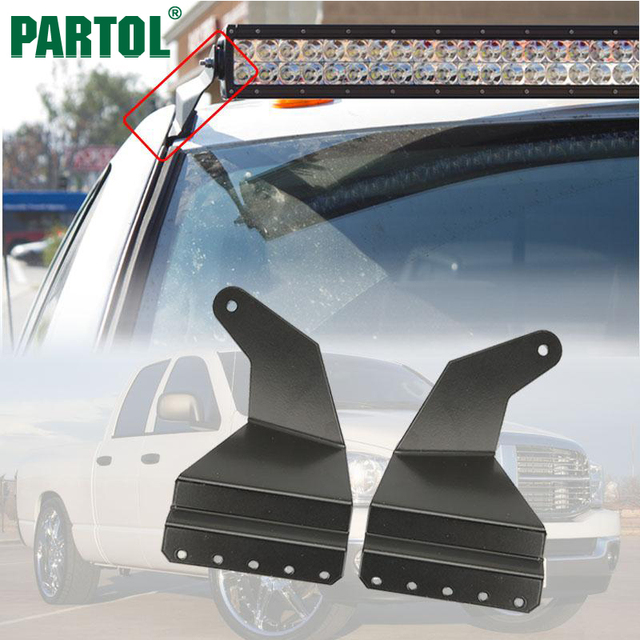 Partol 52 Straight Led Light Bar Windshield Roof Mount Bracket For Dodge Ram 1500 2500