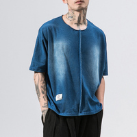 MRDONOO 2018 New Summer Washed denim Color Men T Shirt Short Sleeve Loose Shirt Male Fashion Solid Color O Neck Tees B375 D03