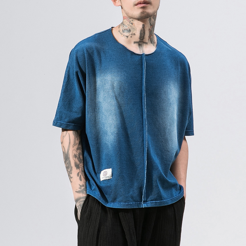 MRDONOO 2018 New Summer Washed denim Color Men   T  -  Shirt   Short Sleeve Loose   Shirt   Male Fashion Solid Color O-Neck Tees B375-D03