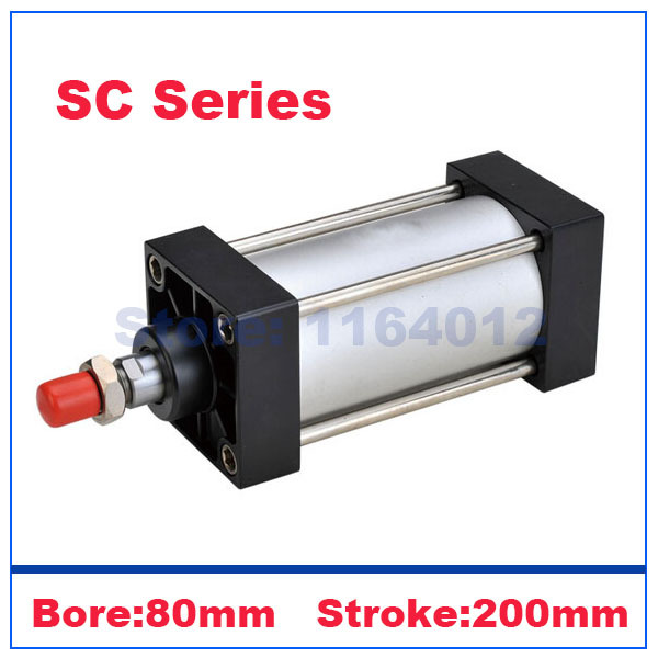 US $23 58 |Airtac type Standard pneumatic cylinders 80mm bore 200mm stroke  SC80x200 single rod piston double acting hydraulic cylinder-in Pneumatic