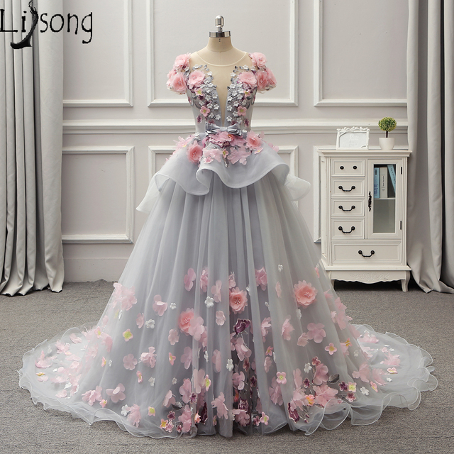 Gray-blue Floral Evening Dresses Floor Hemline Short Sleeves Eye-catching  Dreaming Party Maxi Gowns Formal Dress Red Carpet Gown cc60aeb2aabb