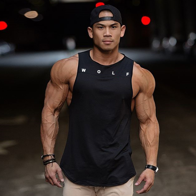 2019 Fitness Vest Men's Sleeveless Sports   Tank     Top   Muscle Gym Wolf Mens Stringer Workout Strong   Tanks   Clothing 5 Color