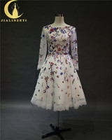 Rhine Real Sample Image Long Sleeves Lace With Colorful Beads Stones Fashion Party Dresses Vestido De