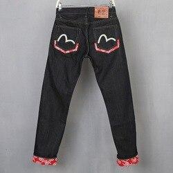 2019 Nuovo Evisu delle casual Traspirante di Alta Qualità Dei Jeans Degli Uomini degli uomini di Marea di Marca Del Ricamo Dritto Pantaloni degli uomini di Stampa