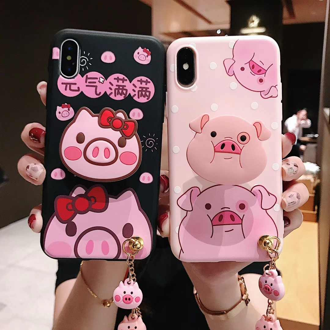 Fashion Cute Pink Pig Dolls Hanging Bracket Phone Case for iPhone 6 7 8 Plus X XS XR XS MAX Back Cover Piggy Phone Shell Coque