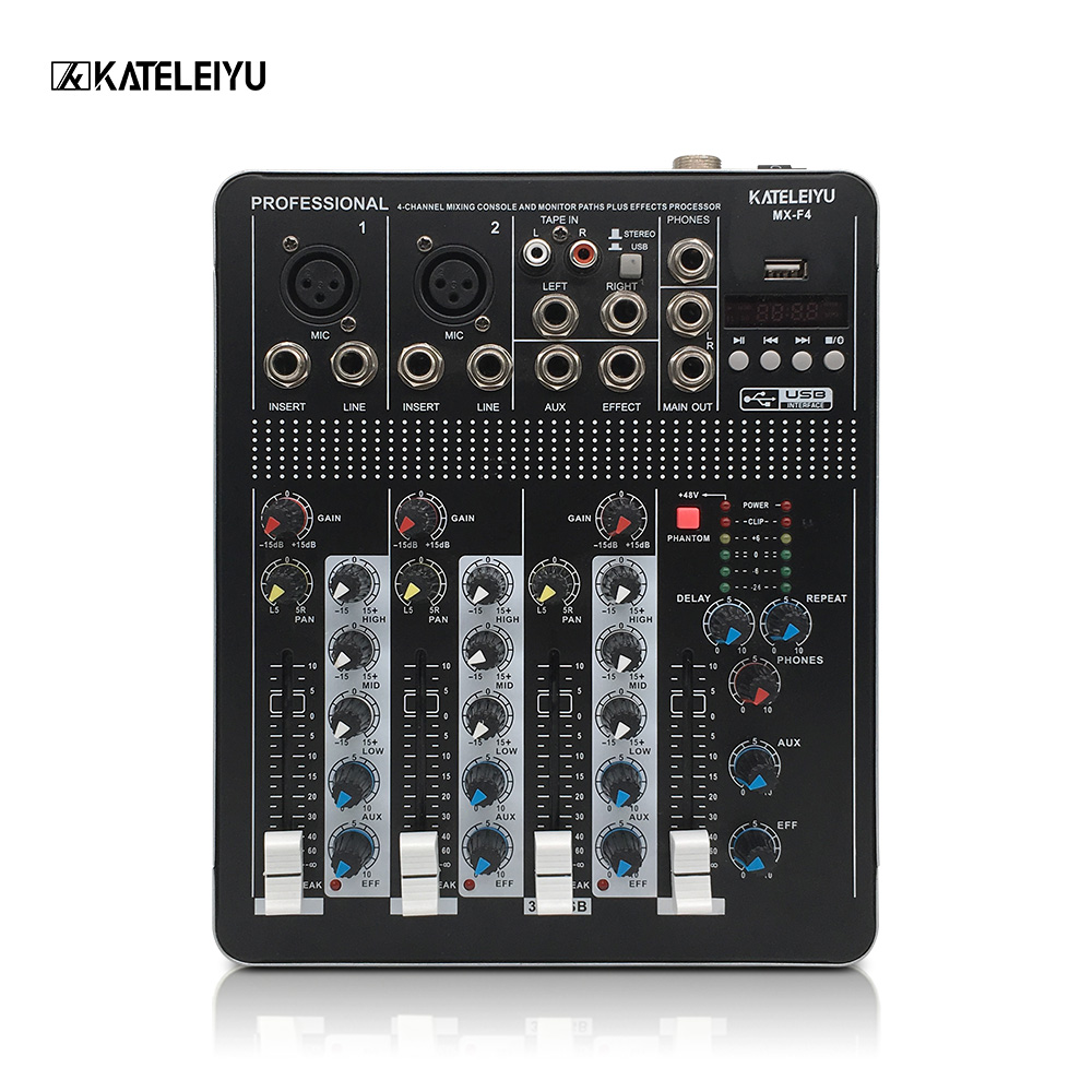 Audio Mixer with USB 4 Channel F4 Mixer Home Audio Console DJ Equipment 48V Phantom Power Supply with Bluetooth Stage Equipment davidson troubleshooting &amp repairing audio equipment pr only
