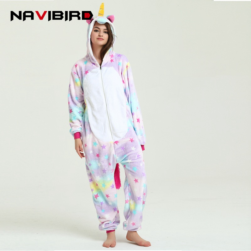 Zipper Star Kigurumi Men Cute Animal Unicorn Onesie For Adult Autumn New Cartoon Unicornio Pijamas Long Sleep Pyjamas Women ...