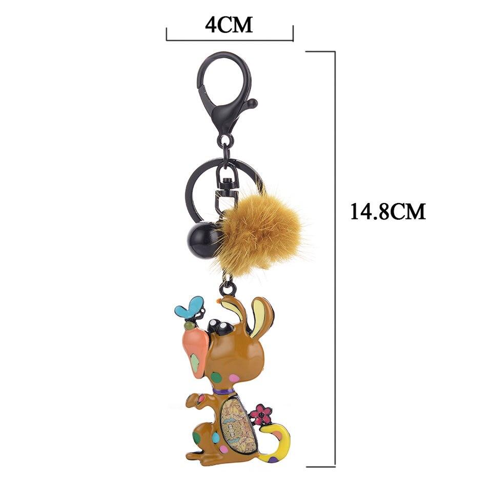Dog Pendants Key Chain Fashion Enamel Trinket Ring For Car KeyChain Women Girls Unisex Hot Sale Keyring Birthday Gift Decoration in Key Chains from Jewelry Accessories