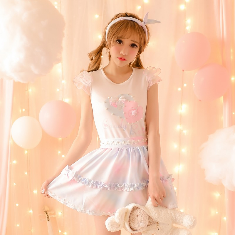 Princess sweet lolita skirts 2016 new summer rain waist print a A-line casual all-match chiffon skirt female C16AB6077 ...