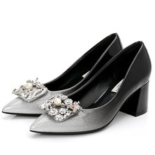 Luxury Pumps Black Genuine Leather Square Heels Pumps Sexy Pointed Toe Elegant Party Shoes Women Office Lady Shoes E0052 fashion brand summer shoes genuine leather high heels square toe slip on party women pumps office lady slingback elegant shoes l