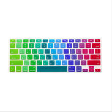 Korean Letter Rainbow US Keyboard Cover Silicone Skin Protector Protective Film 100pcs For Apple MacBook Pro