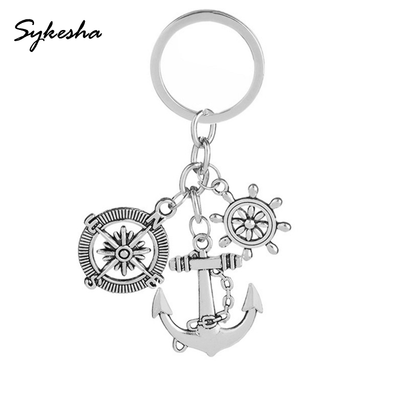 2018 Retro Ornaments of Compass Boat Rudder Ship Anchor Personality Good Friend Key Button Seaman Keychain Bag Holder