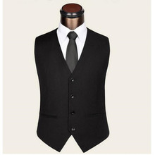 Business men vest high quality pure classic black single-breasted suit vest sleeveless formal groom dress waistcoat