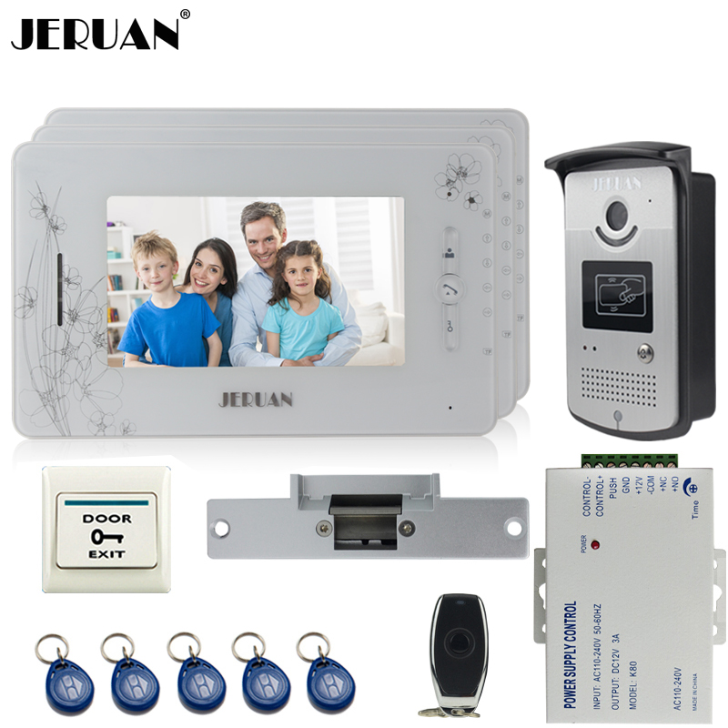 JERUAN three 7`` monitor TFT color video door phone intercom system 700TVL new RFID Access IR Night Vision Camera+Cathode lock jeruan three 7 monitor color video door phone intercom 700tvl rfid access ir night vision camera electric mortise lock 8gb card