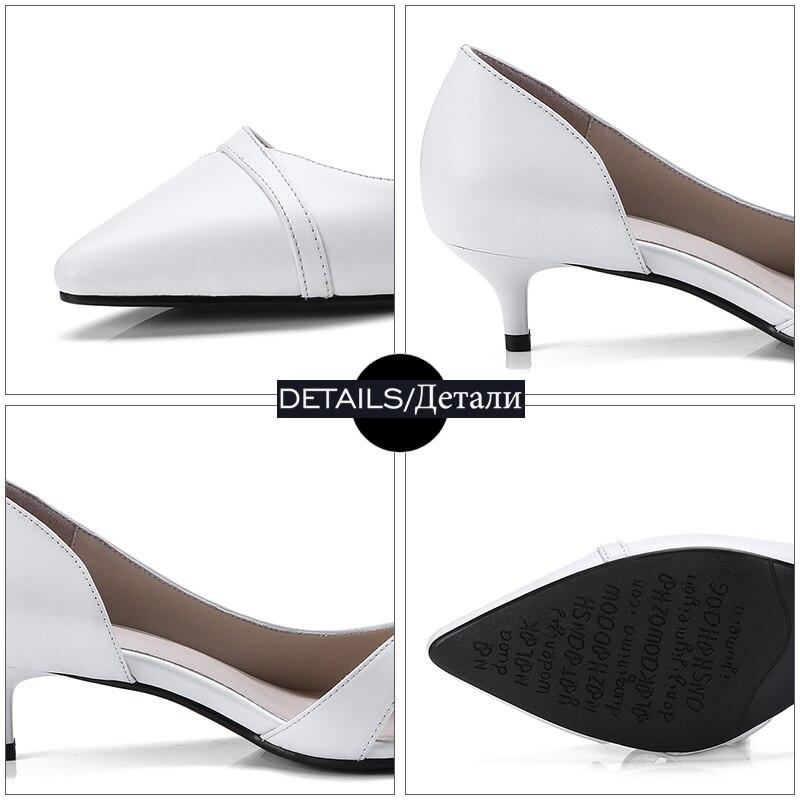 Bureau Cuir Minces Peu En Chaussures Pompes 2018 Dames De Med Profonde Bout Printemps gris Mode Pointu Talons Isnom blanc Véritable Femmes Nouveau Noir vwd7vq