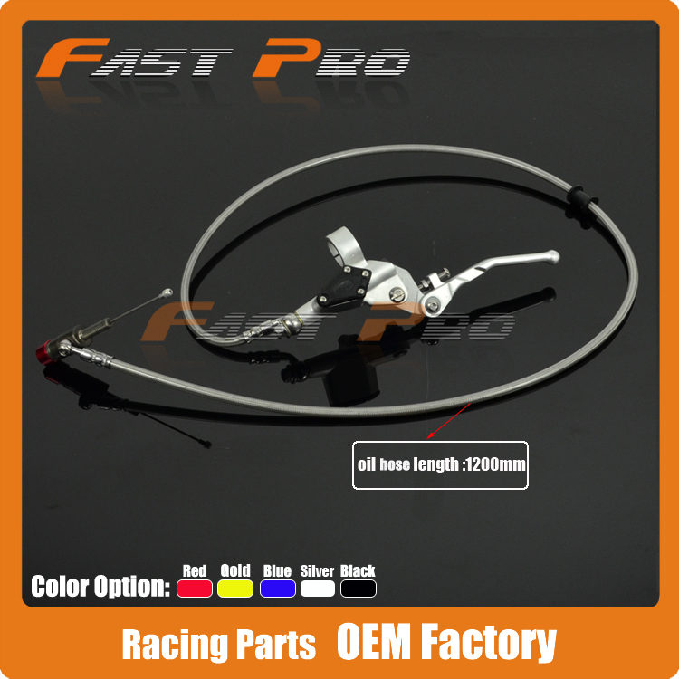 1200mm Hydraulická páka spojky Master cylinder pro 125-250cc Vertikální motor Offroad Motocykl Dirt Bike ATV Silver