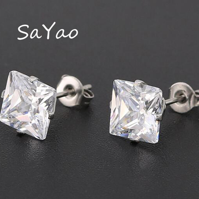 Sayao 1 Pair Surgical Stainless Steel Stud Earring Clear Square Crystal Tragus Earrings Cubic Zirconia Love