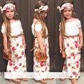 2016 muchachas del verano que arropan la camiseta + dress + bufanda 3 unids/set floral cuello de encaje traje ropa de los niños Venda de la flor