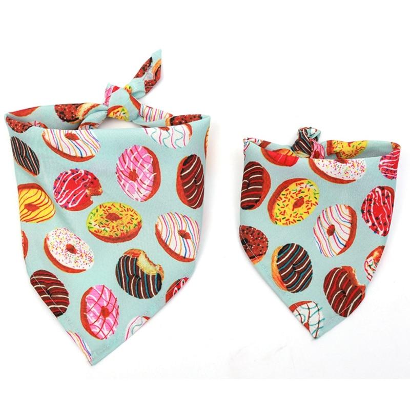 Cat Dog Bandana Bibs Colorful Doughnut Printed Scarf Collar Adjustable Pet Neckerchief Saliva Towel For Small Medium Large Dogs