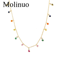 Molinuo Rainbow Exquisite Colorful Cz Mini Square Charm Necklace Bohemian Gold Minimalist Color for women 2019