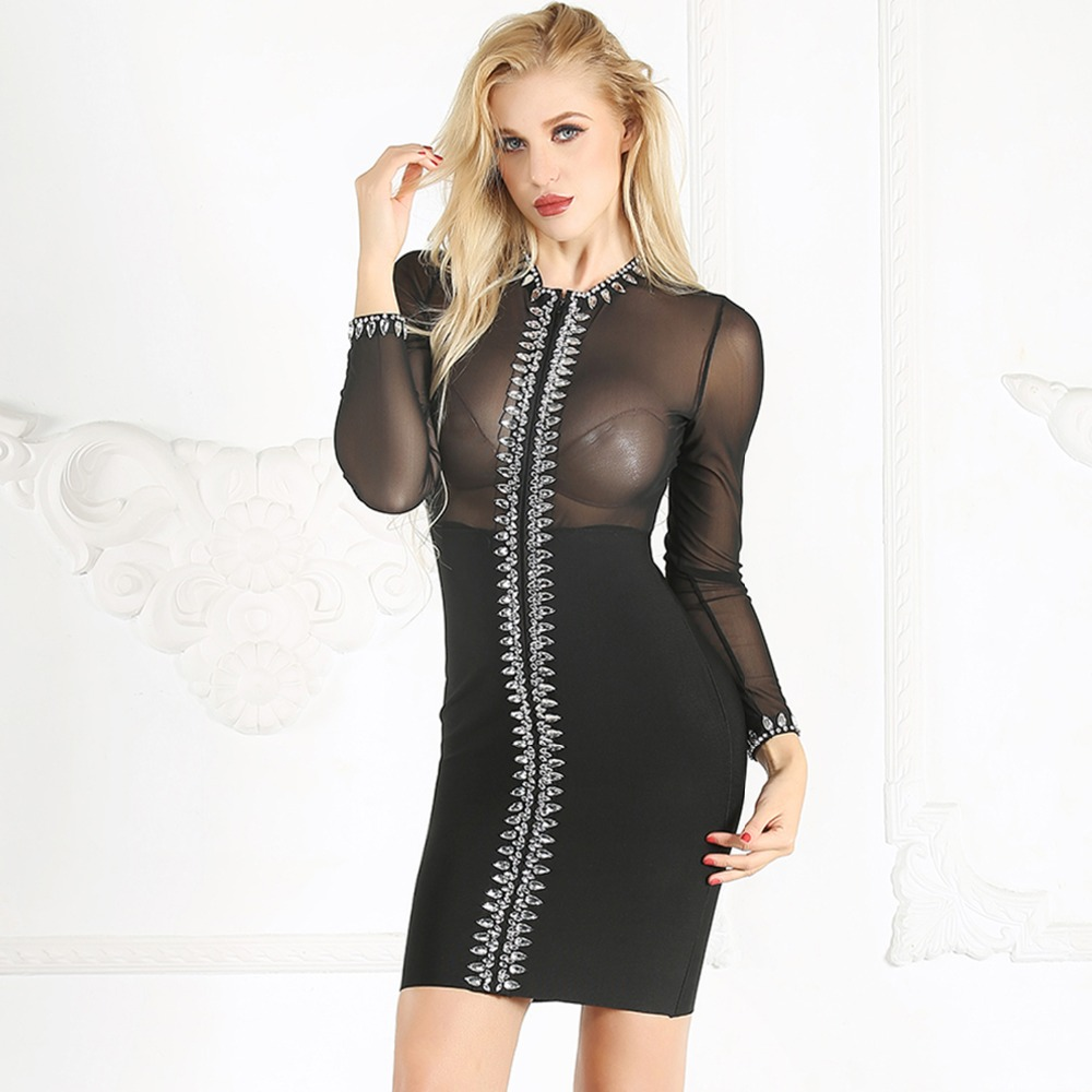 Gros De Partie See Mini Robe En Body Con Club Night Femmes Robes Diamants O Nouveaux Bandage Maille through cou 2019 Sexy Full Mode Ifwq4qB