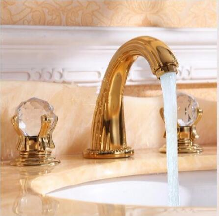 Free Shipping Wash Basin Mixer luxury high quality brass gold plating crystal handle widespread basin faucet sink faucet fashion high quality brass bathroom widespread basin faucet double handle gold plating sink faucet free shipping