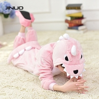 Autumn and winter flannel thickening cute parent child dinosaur cartoon animals Siamese pajamas fashion dress