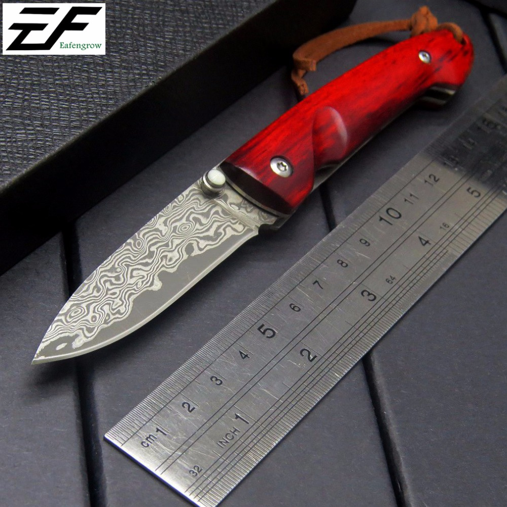 Eafengrow EF84 Damascus folding Knife Red wood handle + Damascus Steel Blade knife Outdoor Tool Hunting camping Knife+wholesale women s high street ripped knees jeans strech low rise denim pencil skinny pants trousers femme jeans for women jean hole jeans