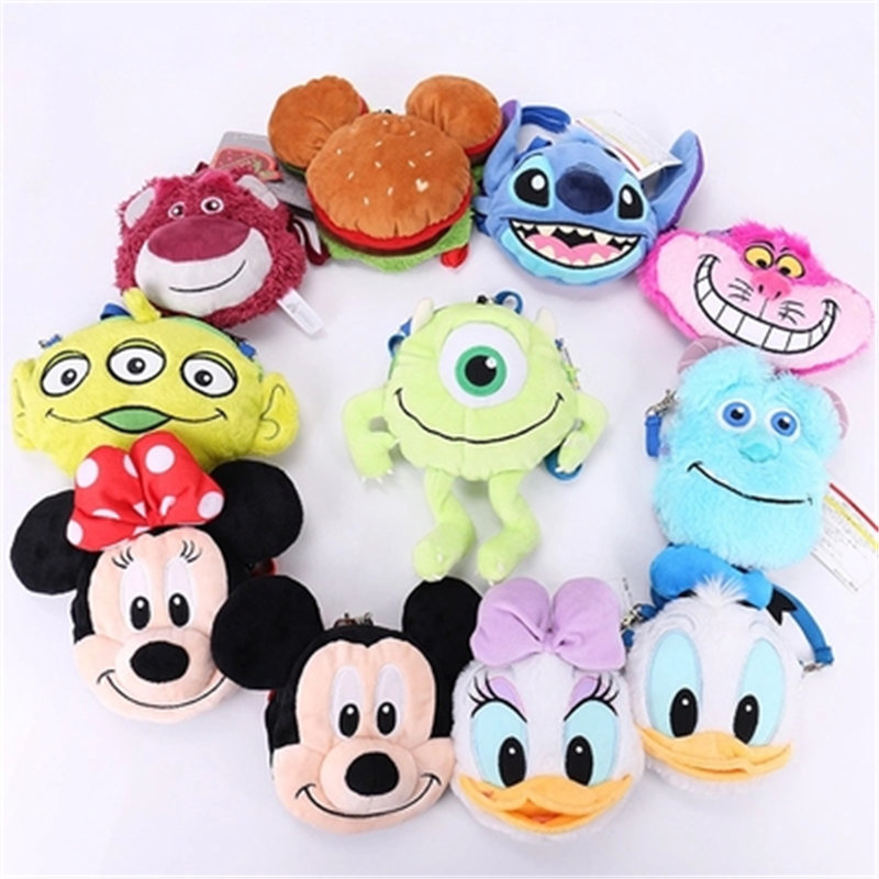 Disney Cartoon Mickey Minnie Donald Duck Hairy Big Eyes Cute Plush Messenger Bag Retractable Card Pack Coin Purse