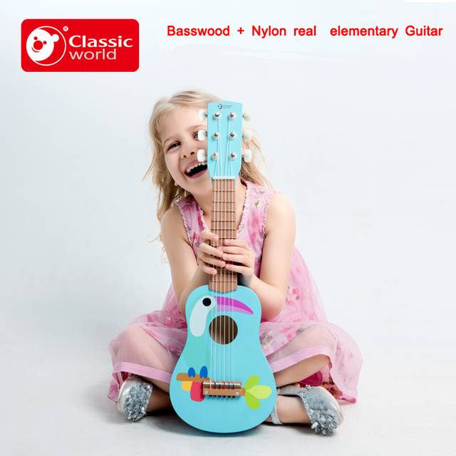 Brand Children Learning Exercising Guitar Basswood Wood Kids 6 Strings Real Toys Acoustic Guitars