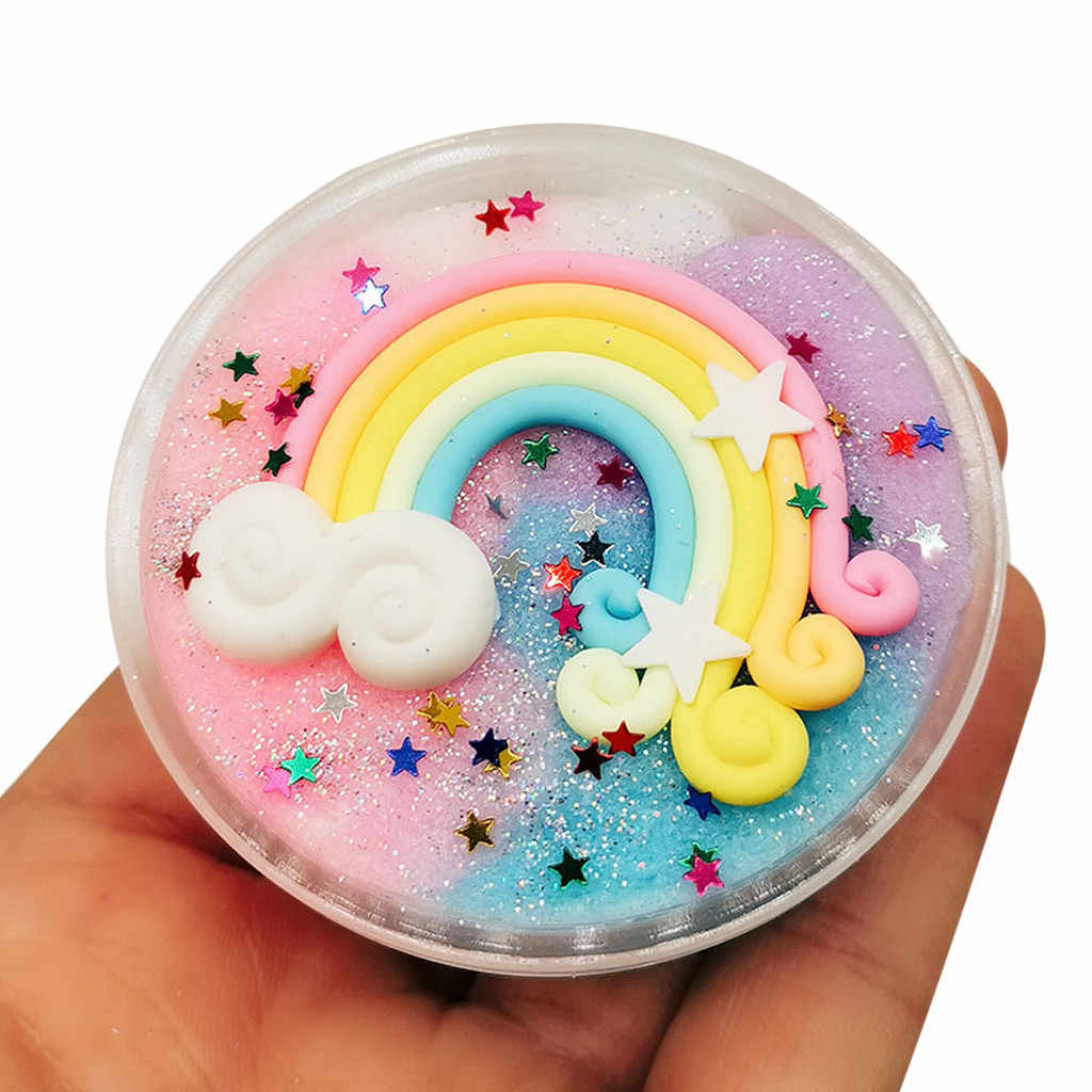 Beautiful Rainbow Fluffy Floam Slime Mud Mixing Cloud Slime Putty Scented Stress Kids Antistress Putty Clay Toy Dropshipping