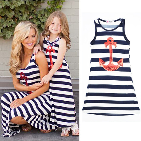 Matching Mother daughter dress navy Blue white stripes anchor girls beach dresses kids sundress children summer dress