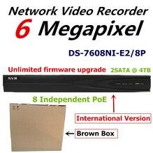 Английская Версия NVR для Системы Видеонаблюдения DS-7608NI-E2/8 P 8-канальный Сетевой Видеорегистратор для 6MP Записи Ip-камеры