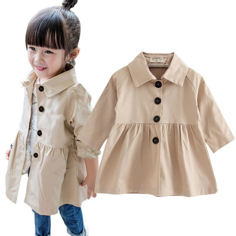 2017 Winter New Ruffles Collar Fashion Girl Outfits Double-Breasted Belt Girls Coats Jackets for 2-7 Years