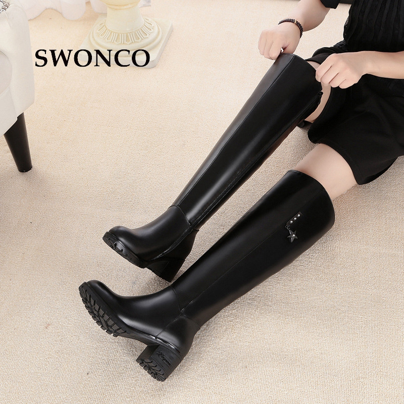 SWONCO Womens High Boots 2018 Winter Genuine Leather High Heels Ladies Shoes Women Boots Winter Over The Knee Warm Martin BootSWONCO Womens High Boots 2018 Winter Genuine Leather High Heels Ladies Shoes Women Boots Winter Over The Knee Warm Martin Boot