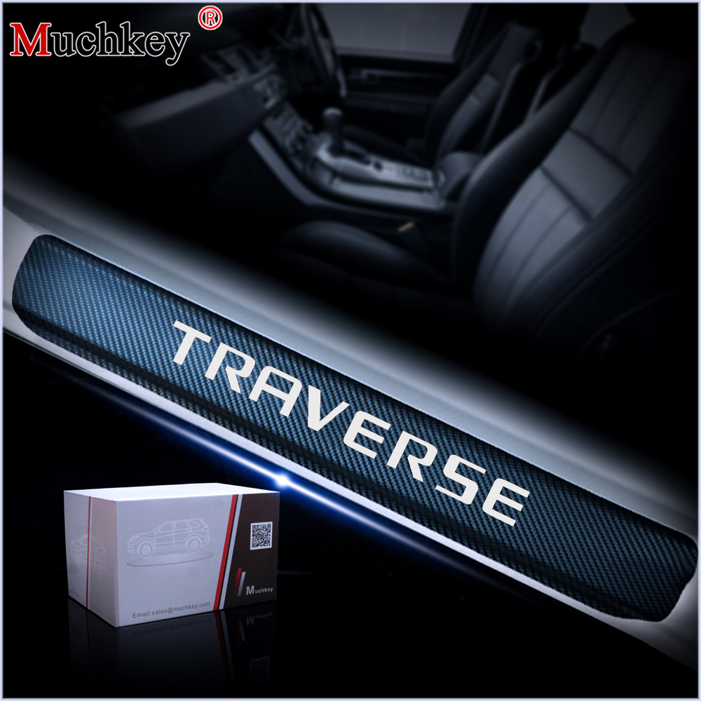 4PCS Door Step Protectors For Chevrolet TRAVERSE 4D Carbon Fiber Vinyl Sticker Car Door Sill Scuff Plate Auto Parts Car Styling